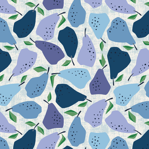 Blue Pear fabric Cotton + Steel Under the Apple Tree Quince QTR YD