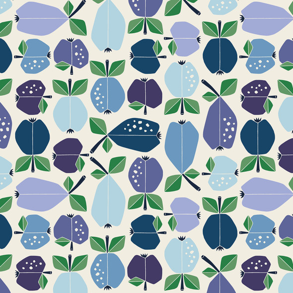 Blue Azure Apple Orchard quilt cotton fabric Under the Apple Tree QTR YD