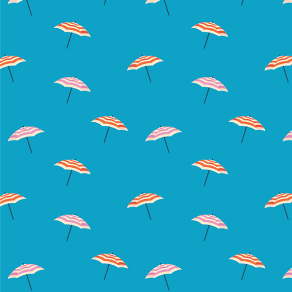 Blue beach umbrella fabric Seas the Day Crisp AGF quilt cotton