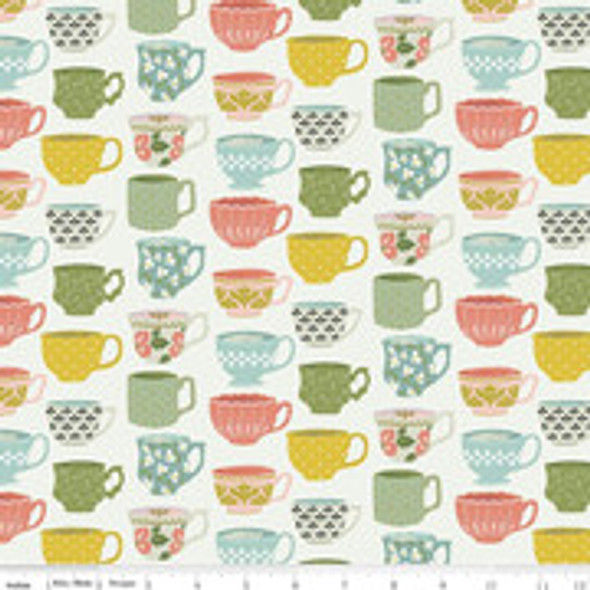 Clearance - Tea cup pastel cotton fabric Tea with Bea Tea Time QTR YD