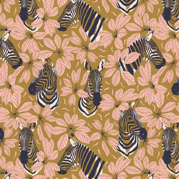 Happy Zebra dark mustard quilt cotton RJR Fabrics Magic of Serengeti