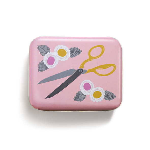 Pink Scissors Sewing Quilting notions tin - Ruby Star Society