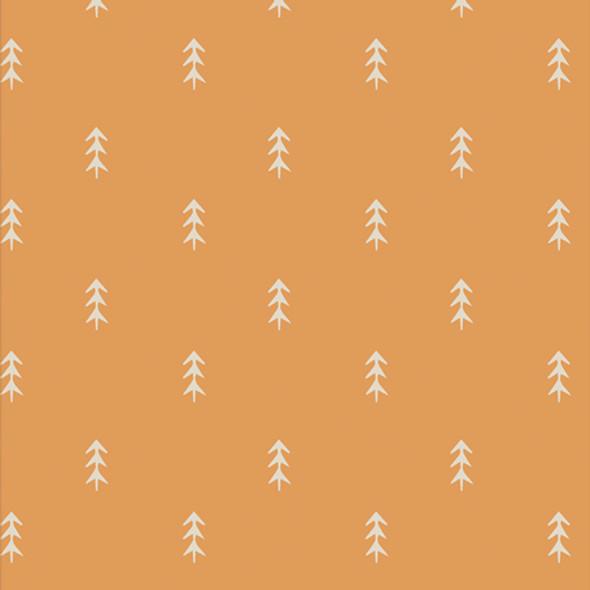 Gold Mustard Tree fabric - Simple Deloliage Chai cotton fabric Cozy Magical