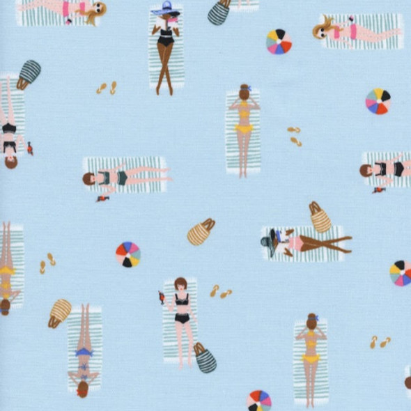 Blue sun tanning cotton fabric, Rifle Paper Co. Sun Girls cotton fabric, QTR YD