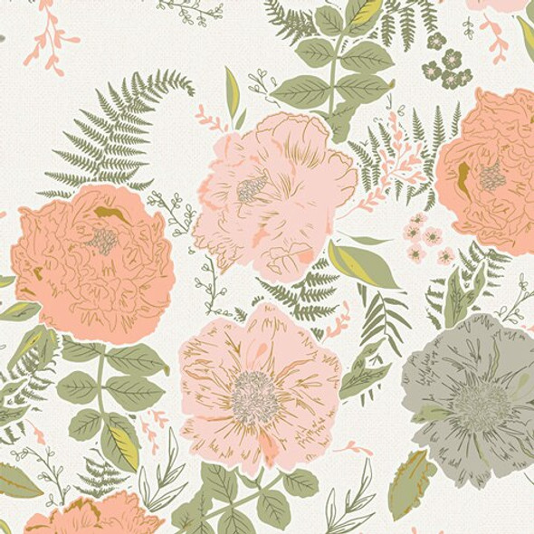 Foraged Garland Peony floral cotton fabrics design