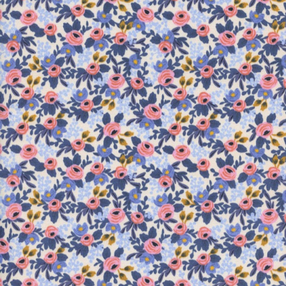 Rifle Paper Co. Rosa Periwinkle Fabric, Cotton + Steel floral cotton, QTR YD