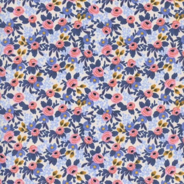 Rifle Paper Co. Rosa Periwinkle Fabric, Cotton + Steel floral cotton, QTR YD