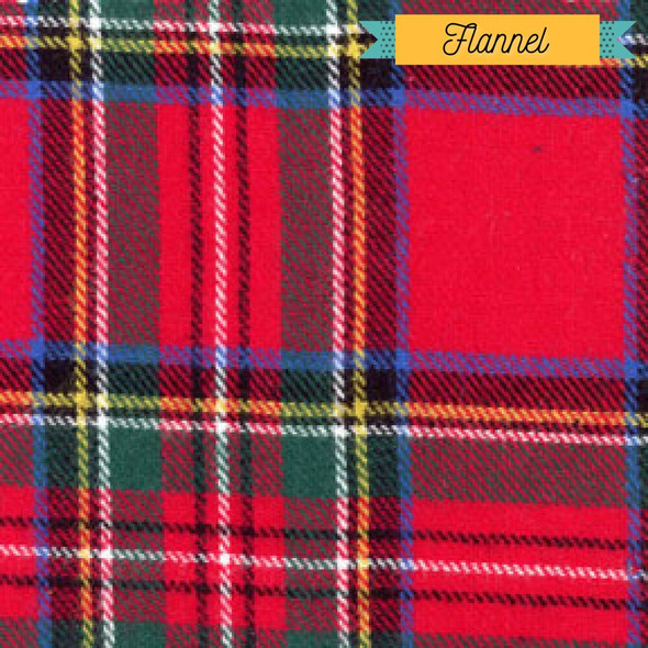 Red green black plaid cotton flannel Fabrics design