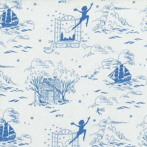 Blue white Peter Pan Tinkerbell cotton fabrics design