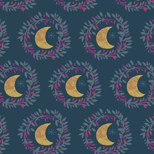 Blue Purple moon quilting cotton fabrics design