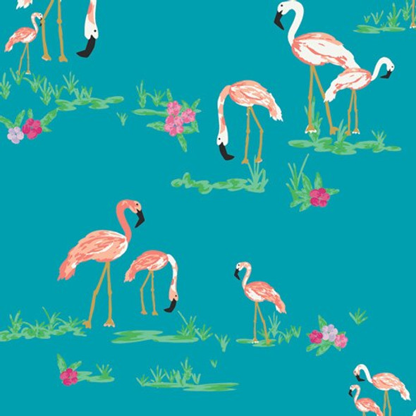 Blue Flamingo Field Marina fabrics design
