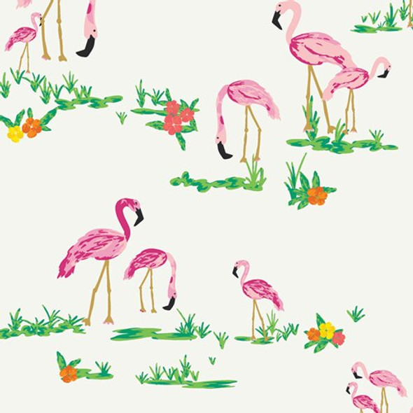 White Flamingo fabrics design