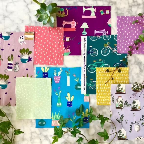 Sewing machine fabric, Saturday Sewing organic cotton Monaluna fabric, QTR YD