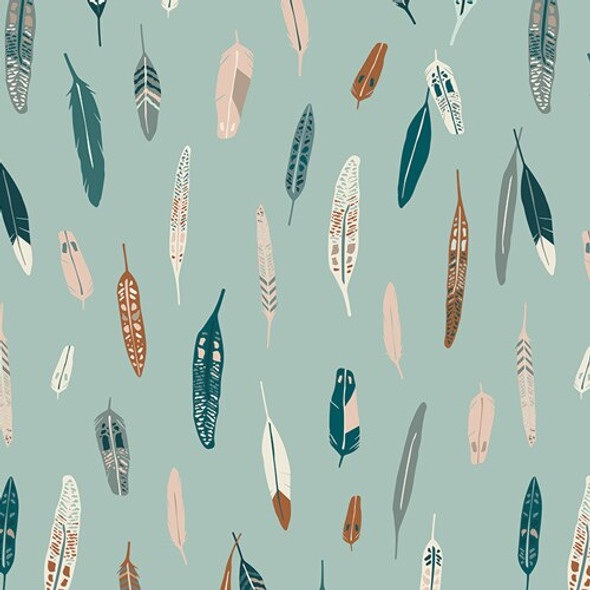 Teal metallic feathers fabrics design