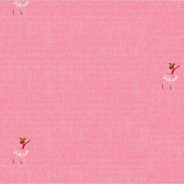 At the Library Pink cotton fabrics design