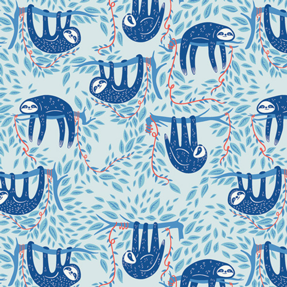 Swaying Sloths Sky, Art Gallery Fabrics Selva sloth fabric Selva, QTR YD