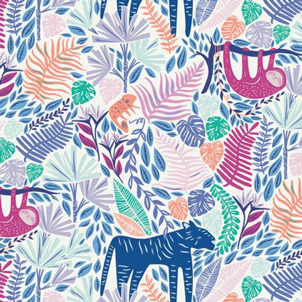 Junglen Joyous White Colorful Jungle fabrics design