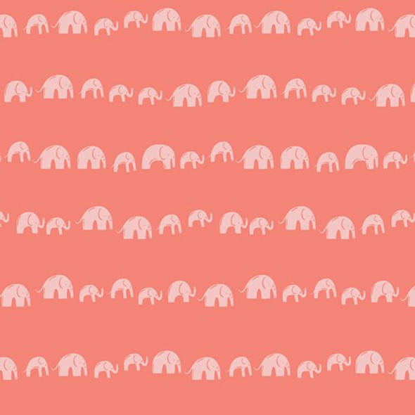 Coral Elephants Echo Earthy fabrics design