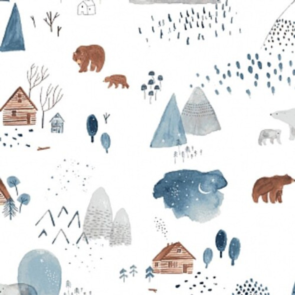 Bear Bison Cozy cabins fabrics design