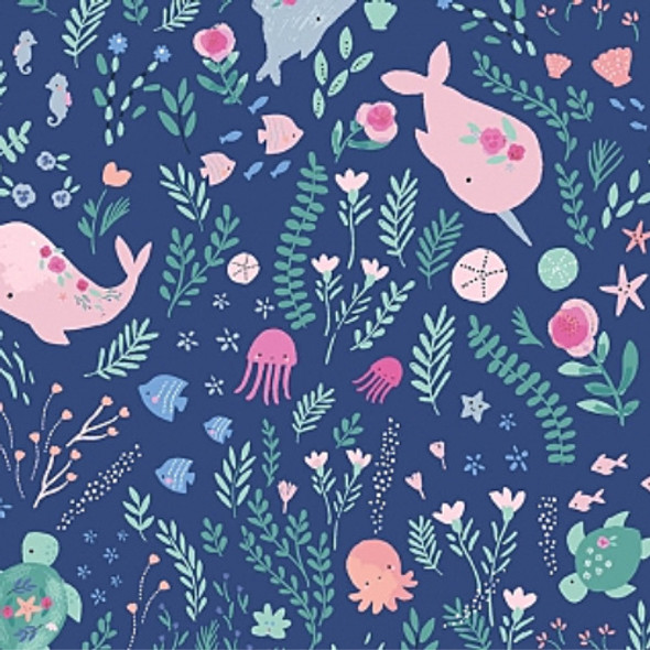 Pink jellyfish whale fabric, Dear Stella Go with the Flow cotton, QTR YD