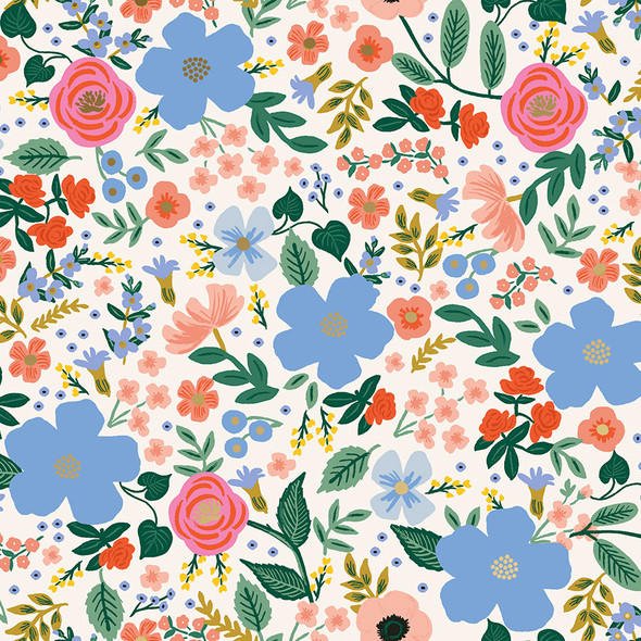 Wild Rose, Cream Metallic by Rifle Paper Co., QTR YD