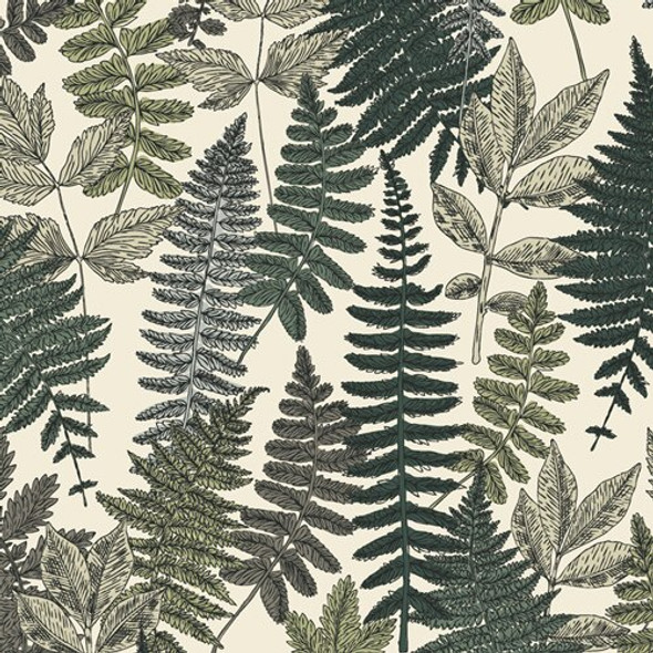 Vintage fern leaves garden fabrics design