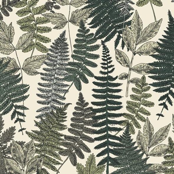 Vintage fern leaves garden fabrics design