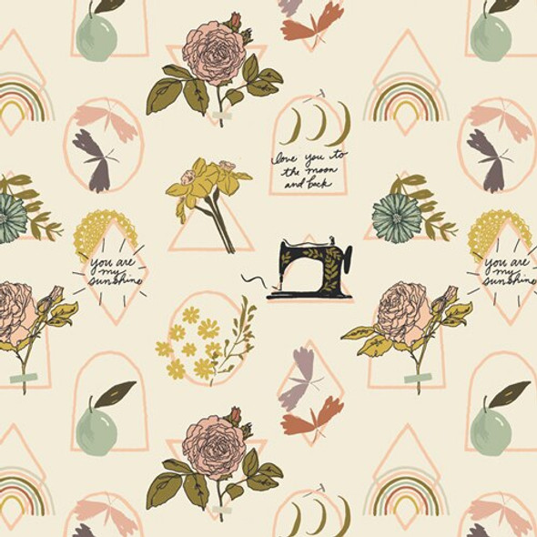 Vintage floral garden fabrics design