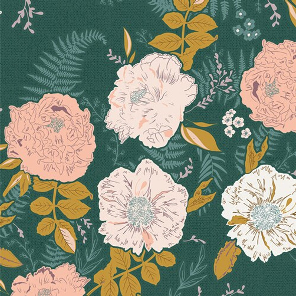 Dark green floral Gathered Foraged Garland fabrics design