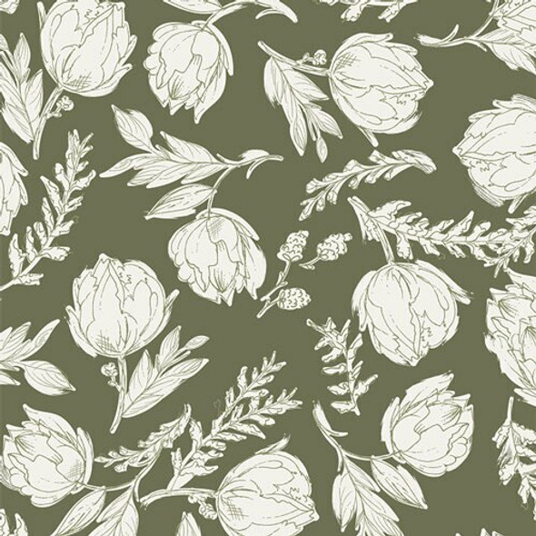 Green white floral fabrics design