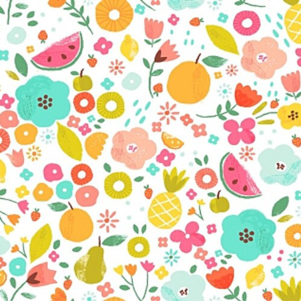 Watermelon pineapple summer fruit fabrics design