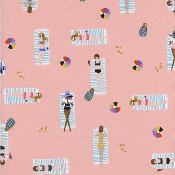 Coral sun tanning cotton fabric, Rifle Paper Co. Sun Girls cotton fabric, QTR YD