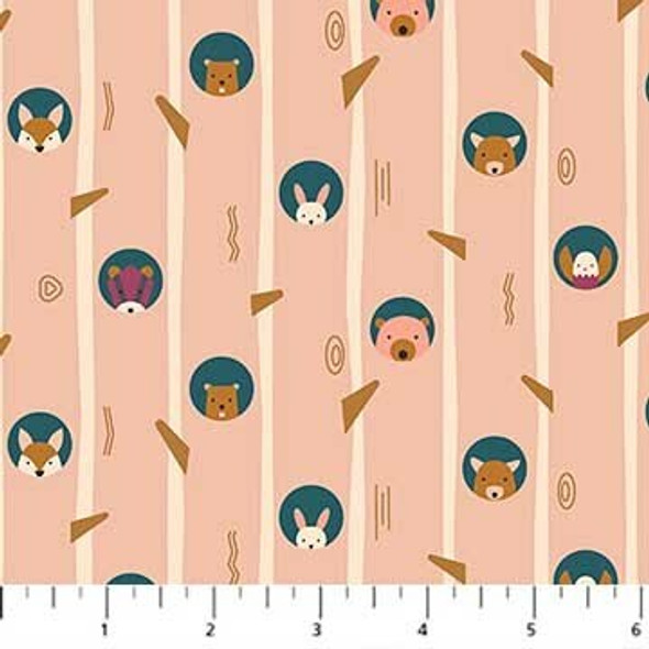 Peach cream woodland tree animals fabrics design