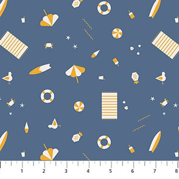 Blue beach gear fabrics design