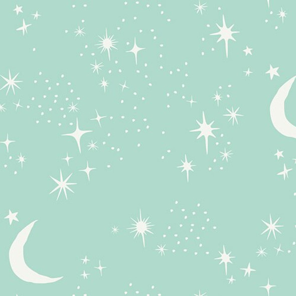 Mint stars & moon cotton fabrics design