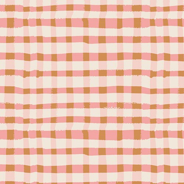 Pink brown plaid Lambkin cotton fabrics design