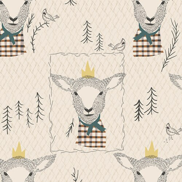 Brown tan sheep Lambkin cotton fabrics design