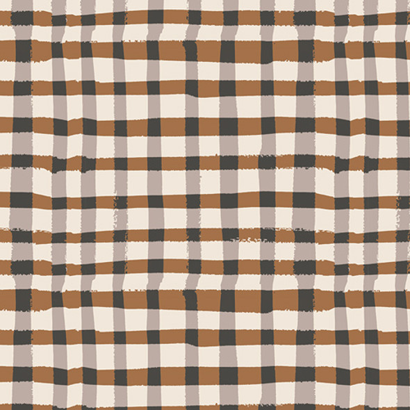 Brown black plaid fabric, Wooly Umber Lambkin cotton fabric AGF, QTR YD