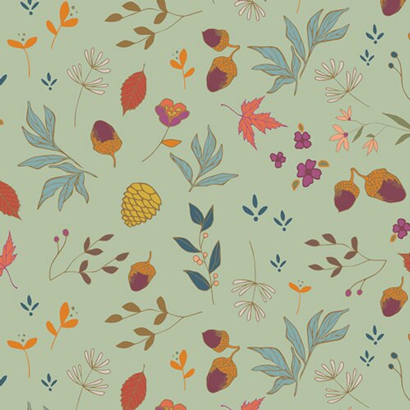 Acorns & Pinecones Mint fabrics design