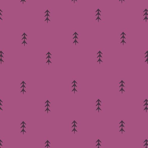 Purple pine tree forest fabrics design