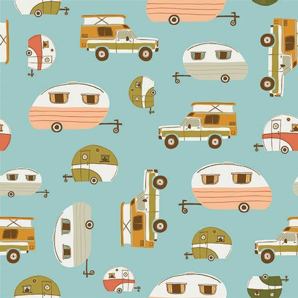 Vintage Campers blue fabrics design