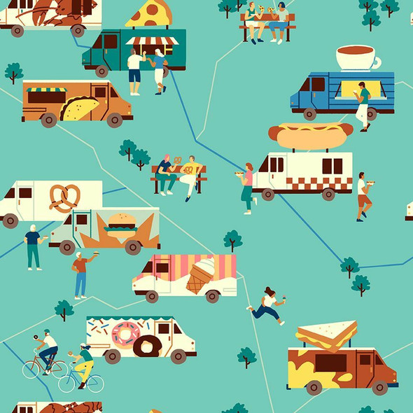 Turquoise Food Trucks fabrics design