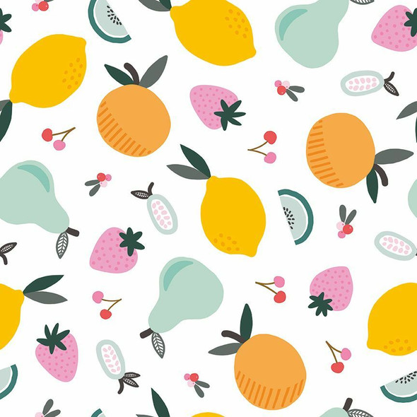 White mixed fruit fabrics design