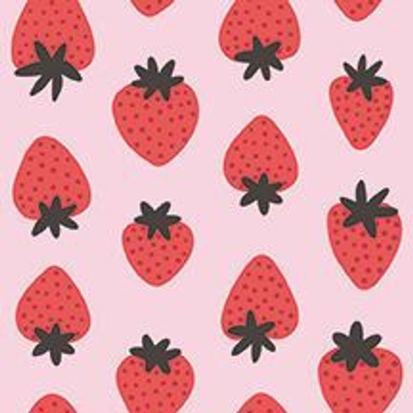 Pink red strawberries fruit fabrics design