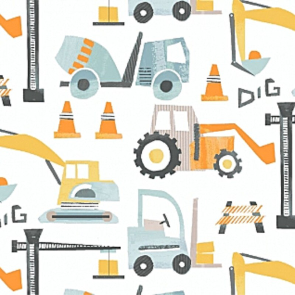 Boys Construction Equipment fabrics design