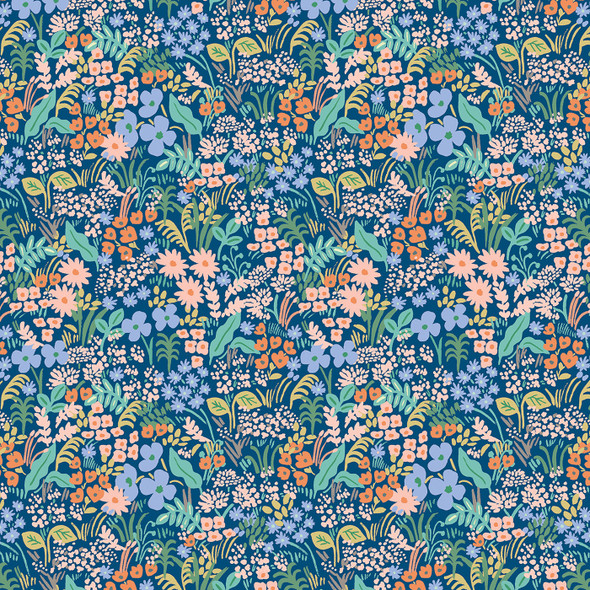 Blue Meadow Rifle Paper Co floral fabric Blue Floral cotton fabric, QTR YD