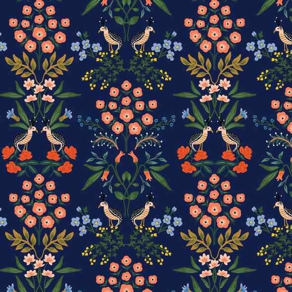 Navy meadow Rifle Paper Co. floral Luxemburg fabric, cotton fabric , QTR YD