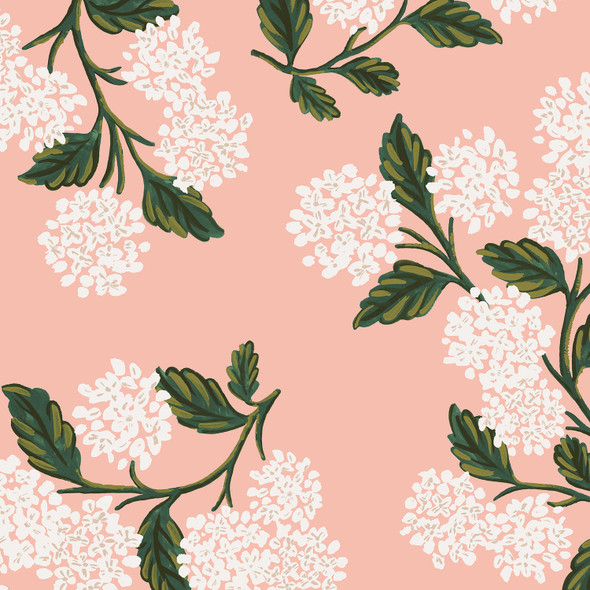 Pink hydrangea Rifle Paper Co Meadow floral fabric, cotton fabric, QTR YD