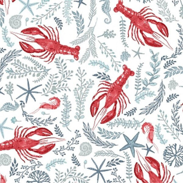 White Lobster crawfish shrimp fabrics design