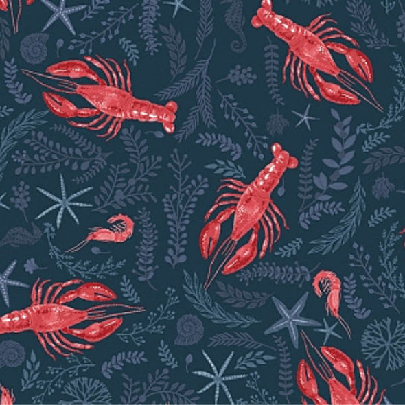 Navy Lobster crawfish shrimp fabric, Dear Stella Clawsome cotton, QTR YD